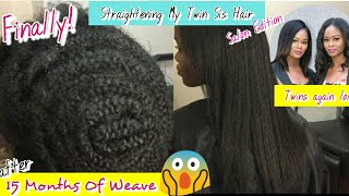 Client Makeover| Silk Straightening and Trimming My Twin Sister's Hair (Salon Edition)