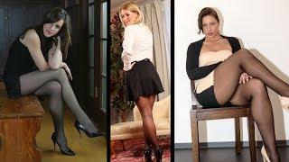 Wonderful Women With Sexy Legs in Black Nylon Pantyhose