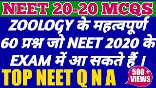 NEET 2019 : 60 ZOOLOGY MOST EXPECTED QUESTIONS AND ANSWERS FOR UPCOMING NEET/AIIMS/JIPMER EXAMS 2019
