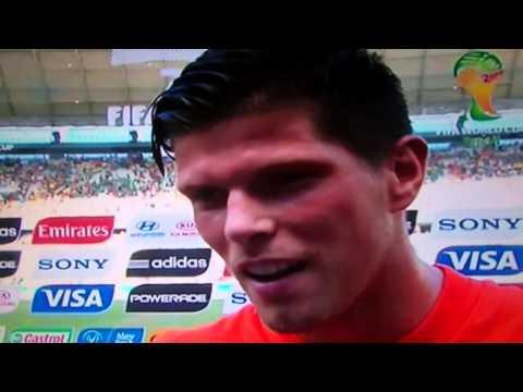 WC2014: Oranje Nederlands Elftal : Klaas Jan Huntelaar na Nederland- Mexico / 29 Juni 2014