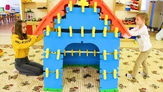 Zlata and Elya playing with Toy Blocks and builds Playhouse | Hide and Seek