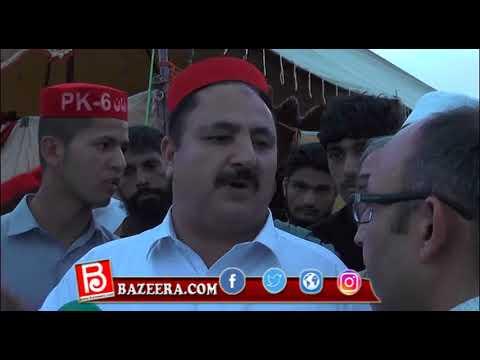 عوامی نیشنل پارٹی کے رہنما اور نامزد امید وار پی کے 7وقار احمد خان بریکوٹ گراونڈ میں ہونے والے تاریخی جلسے کے بعد انٹرویو دے رہے ہیں۔