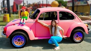 Max and Nikita pretend play at the Cars park | VW Beetle