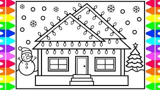 How to Draw a Christmas House with Lights 💜💚💛💙💖 House Drawing and Coloring Pages for Kids