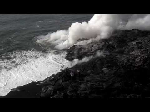 Lava shelf collapse
