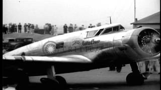 Pilot Henry (Dick) Merrill and Copilot, Harry Richmond, take off from New York in...HD Stock Footage
