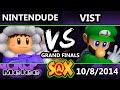 S@X - Apex  Nintendude (Icies) Vs. Vist (Luigi) Grand Finals - Smash Melee