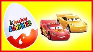 Cars 3. Cartoon - Lightning McQueen Kinder Surprise Eggs. Unboxing Kinder Suprise Collection.