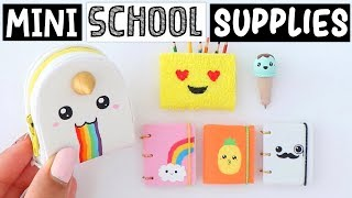 4 DIY REAL MINIATURE SCHOOL SUPPLIES! Slime Notebook, Unicorn Backpack & MORE!