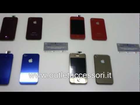 Set Kit completo per cambiare colore display cover home iphone 4 blu gold rosso salerno