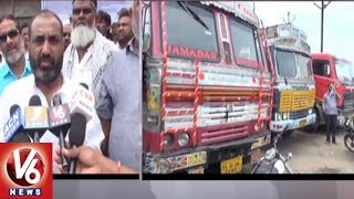 Adilabad District Lorry Operators Participate In Nationwide Indefinite Strike