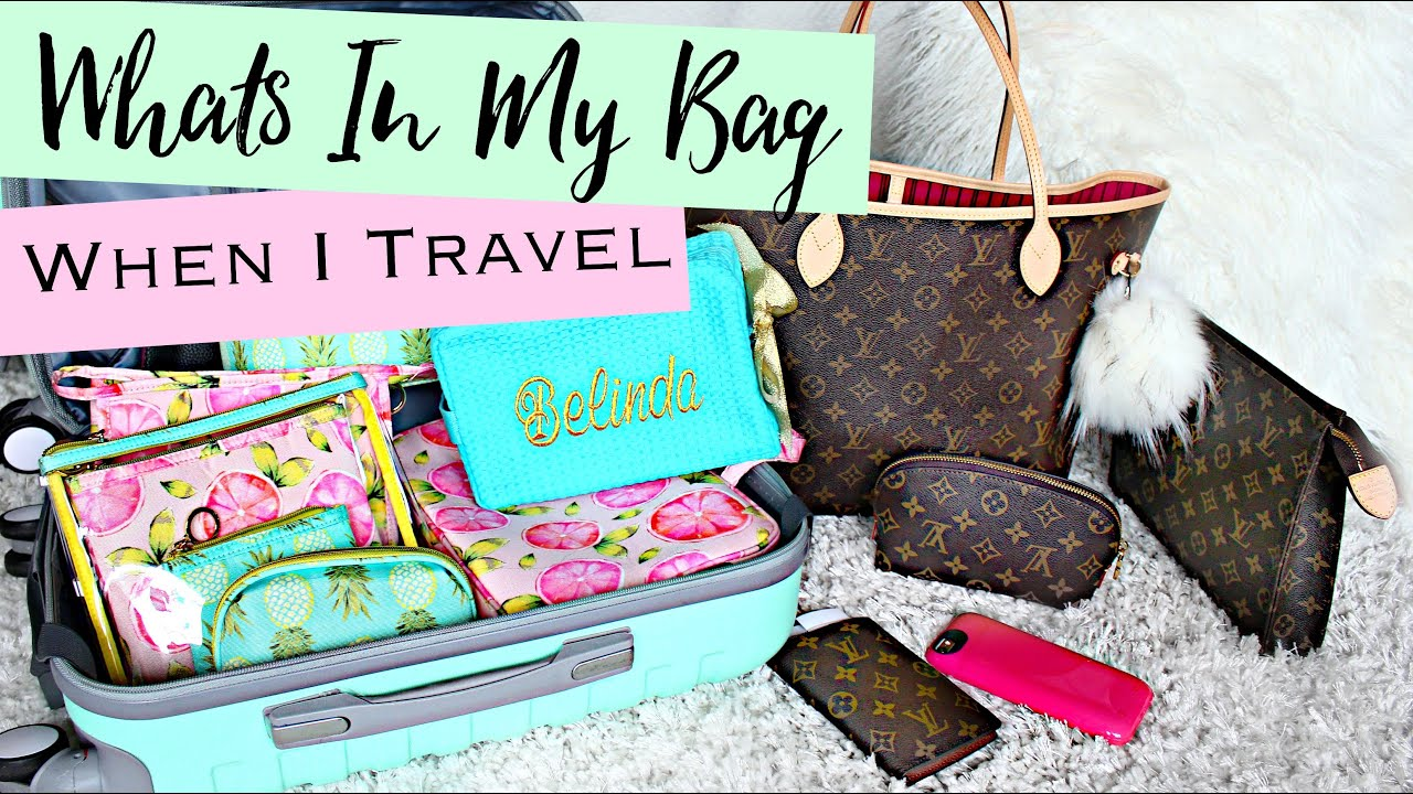 What's Inside My Louis Vuitton Neverfull MM When I Travel | Belinda Selene