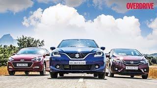 Suzuki Baleno v/s Hyundai Elite i20 v/s Honda Jazz - Comparative Review