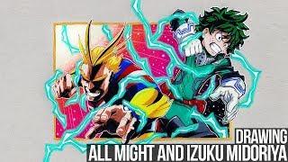 Drawing All Might and Izuku Midoriya | My Hero Academia Anime