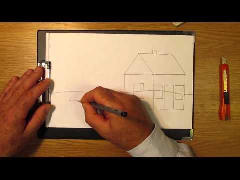 Видео как нарисовать дом карандашом поэтапно
