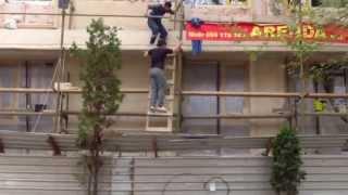 Muncitori neprotejați în plin centrul capitalei