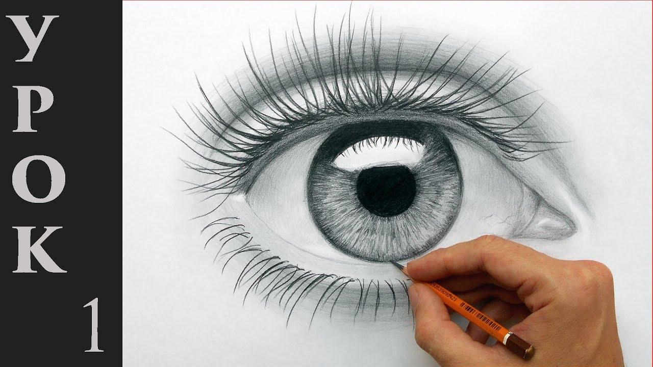 Большие глаза рисунок карандашом