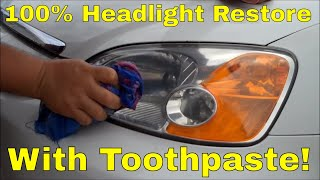 Headlight Lens Restore using Toothpaste!