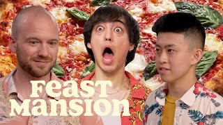 Joji and Rich Brian Make Pizza and Hot Sauce with Sean Evans (Part 1) | Feast Mansion