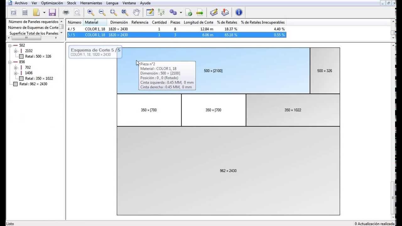 Programa optimizador de Cortes Placas Planas, Madera, Mdf, Aglomerado