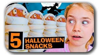 5 einfache 🎃 HALLOWEEN Party SNACK IDEEN Fingerfood (Halloween Rezepte Deutsch) Vier Mal Spass