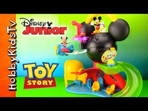 Toy Story, Buzz Slides Down Disney Mickey Mouse Clubhouse. Lightning McQueen, Jessie, Martian