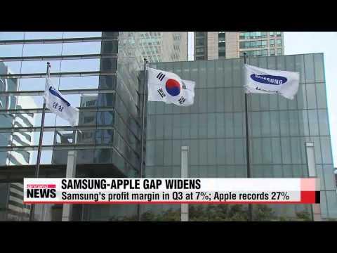 Samsung Electronics Q3 operating profit margin stands far behind Apple   애플.삼성전자