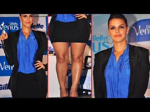 Sexy Neha Dhupia Huge Bosom In Blue Shinny Shirt video