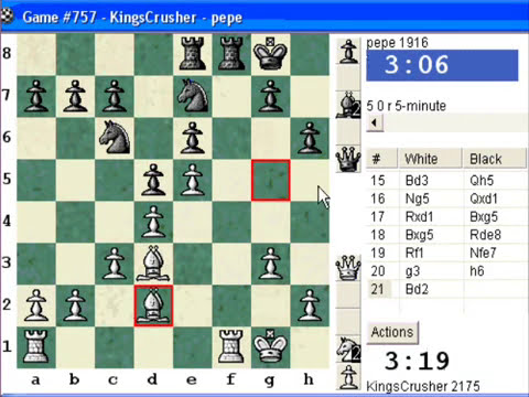 Chessworld.net : Blitz #263 vs. pepe (1916) - Kings Pawn Opening : Nimzovich defense (B00)