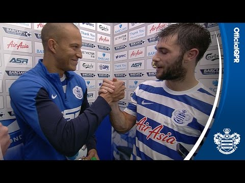 MAN OF THE MATCH I BOBBY ZAMORA PRESENTS CHARLIE AUSTIN WITH HIS AWARD