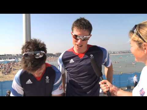 Luke Patience and Stuart Bithell win Silver at the London 2012 Olympic Sailing Regatta