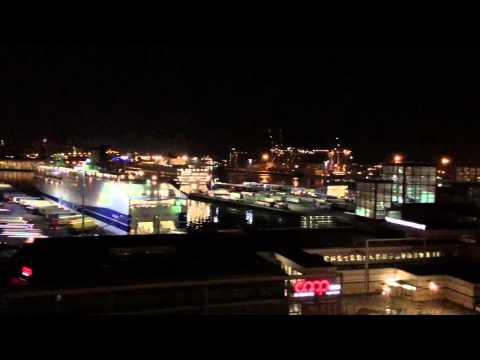 Port of Genoa Italy at Night