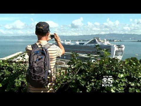 Cruise Ship Dominates Bay View From San Francisco's Telegraph Hill