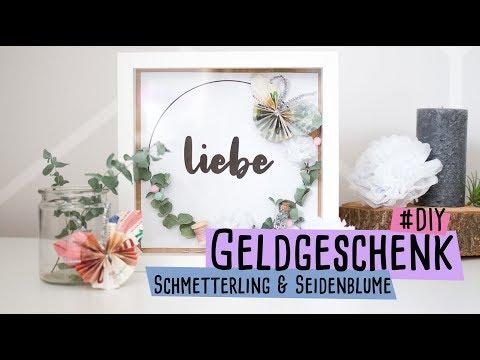 Geldgeschenk - Schmetterling aus Geldscheinen + Mini Seidenblume  // delari