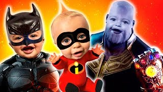 Incredibles 2 Jack Jack Halloween Costume Pretend Play and Shopping with Batman and Thanos