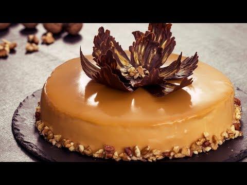 Walnut Caramel Mirror Cake