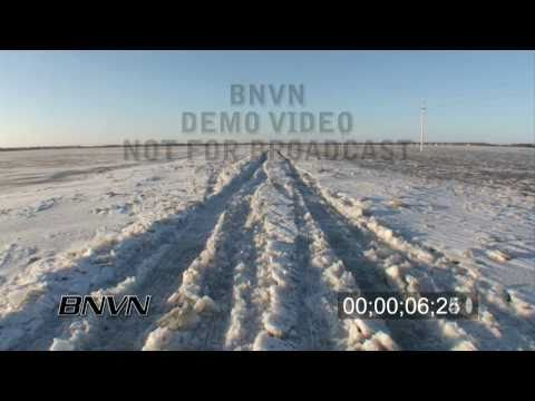 3/28/2009 Flooded and Frozen Roads near Oxbow, ND Stock Video