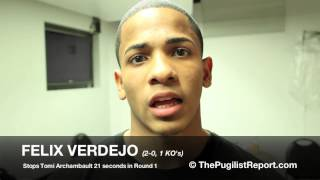 FELIX VERDEJO stops Tomi Archambault in 22 seconds... Post Fight Locker Room Interview (Spanish)