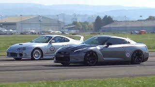 990HP Toyota Supra vs. 980HP Nissan R35 GTR Rolling Start Drag Race