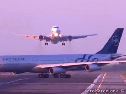 Raw: Near Miss at Barcelona Airport
