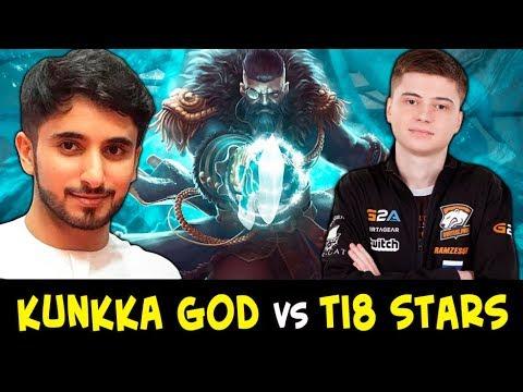 Kunkka GOD vs TI8 stars — Attacker vs new OG mid Topson + Ramzes