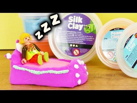 06:15 Playmobil Bett Selber Machen | Silk Clay Bettchen Mit Foam Clay  Wolkenschleim Verzierung | DIY