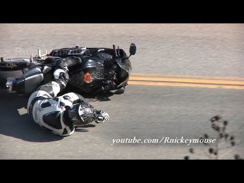 Motorcycle Crash - Honda CBR Lowsides on the Downhill