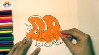 how to paint dinosaur and coloring dinosaur/ teaching kid to draw dinosaur