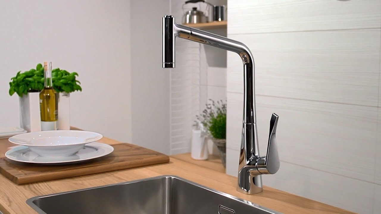 Hansgrohe Metris Kitchen Mixer Pull Out Spray Youtube
