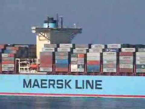 The first build of Maersk Line's E-Series, the 11000 TEU Emma Maersk as seen from the 4300 TEU Maersk Missouri. This was shot about 50 nm west of Port Said...
