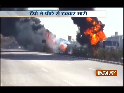 Chemical tractor catches fire due to accident at Mumbai-Ahmedabad Highway, traffic affected