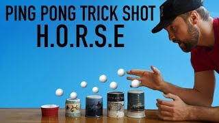 Ping Pong Trick Shot HORSE *Loser Drinks GROSS Mystery Smoothie*