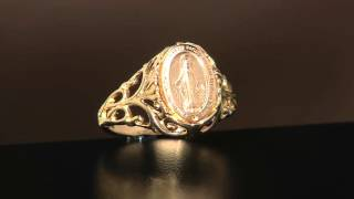 14K Gold Polished Miraculous Medal Ring on QVC