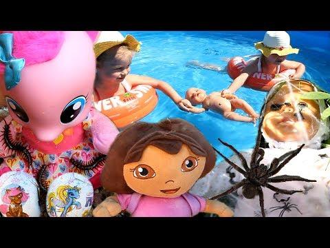 Мультик с игрушками Даша путешественница Беби Бoрн Малышка Пинки Пай на русском новые серии бассейн